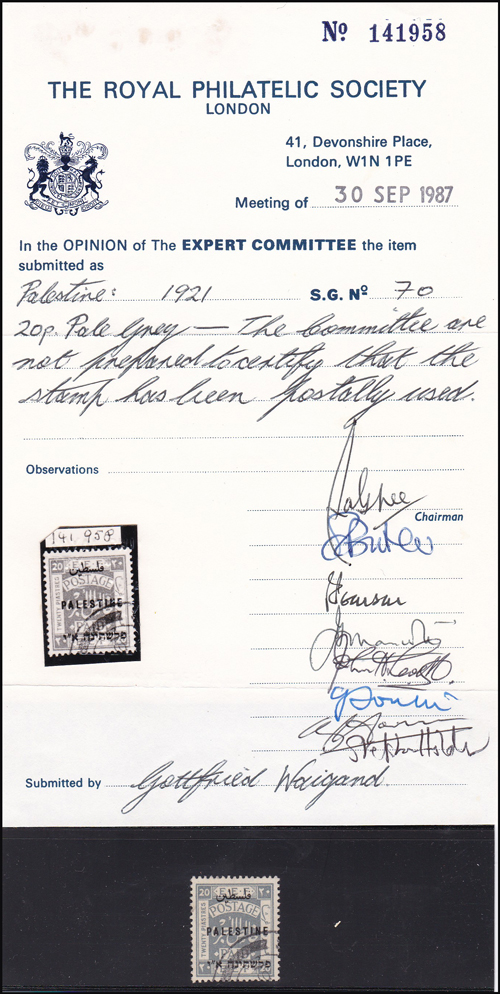 Lot 23 - british mandate in palestine Stamps Of British Mandate In Palestine, London I -  Romano House of Stamp sales ltd Auction #41