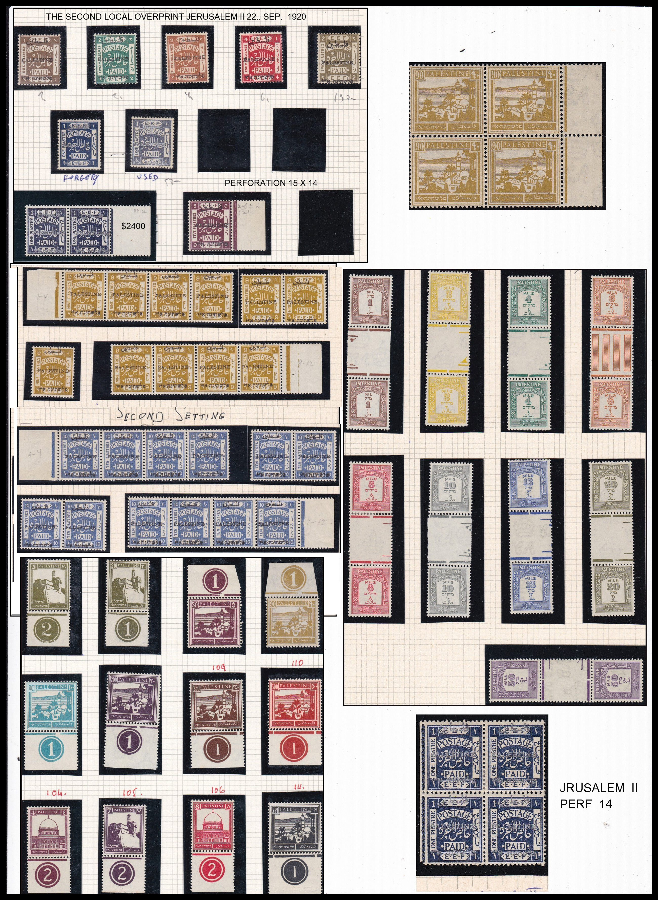 Lot 22 - british mandate in palestine Stamps Of British Mandate In Palestine, Jerusalem I -  Romano House of Stamp sales ltd Auction #41
