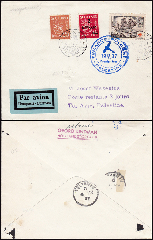 Lot 36 - british mandate in palestine British Mandate Postal History, Airmail & Registered mail -  Romano House of Stamp sales ltd Auction #41