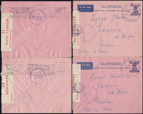 Lot 34 - british mandate in palestine British Mandate Postal History, In Coming Mail -  Romano House of Stamp sales ltd Auction #41